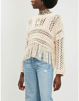 Free People Higher Love cotton-blend open-knit jumper