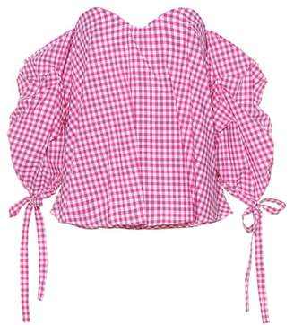 Caroline Constas Gabriella gingham cotton top