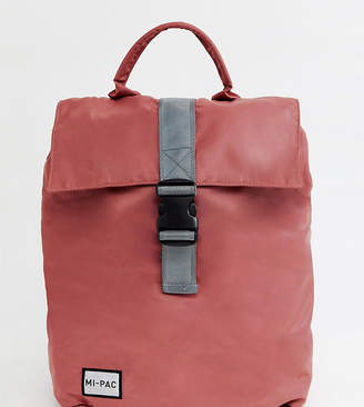 Mi-Pac Mi Pac nylon fold top backpack in rose pink with reflective logo