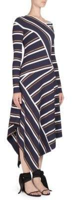 Cédric Charlier Striped Knit Mock Wrap Dress