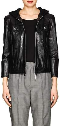 Helmut Lang Women's Hooded Glazed Leather Jacket - Black