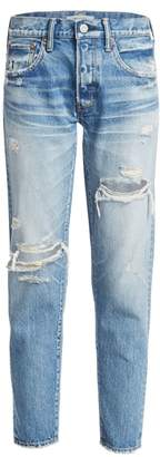 Moussy Vintage Bowie Mid-Rise Tapered Distressed Jeans