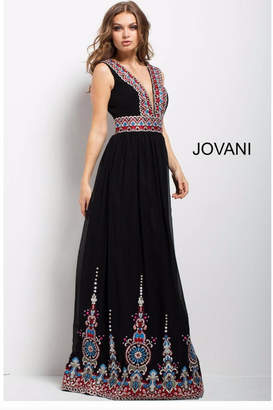 Jovani Black Embroidered Gown