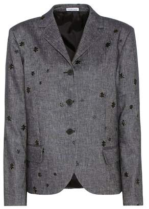 Tomas Maier Embroidered cotton and linen blazer