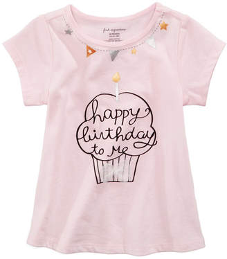First Impressions Birthday-Print Cotton T-Shirt, Baby Girls, Created for Macy's