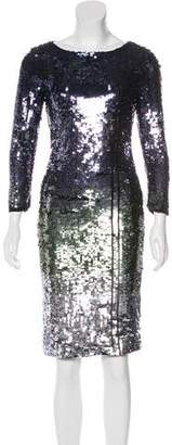 Alice + Olivia Sequined Knee-Length Dress
