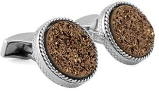 Tateossian Silver Round Bronze Drusy Cuff Link