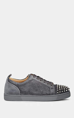 Christian Louboutin Men's Louis Junior Spiked Suede Sneakers - Gray