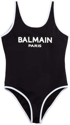 Balmain Two-Tone Logo One-Piece Swimsuit, Size 12-16