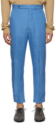 Haider Ackermann Blue Cropped Low Crotch Trousers