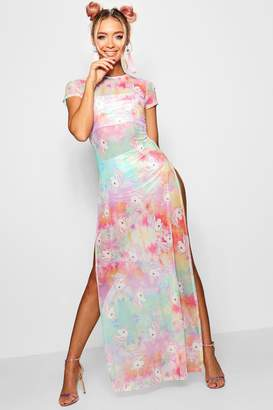 boohoo Unicorn Tie Dye Printed Mesh Maxi Dress