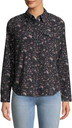 Sanctuary Work Floral Button-Down Cotton Shirt