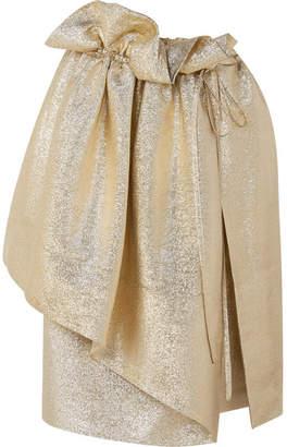 Stella McCartney Brynn Asymmetric Gathered Lurex Skirt - Gold