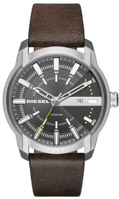 Diesel R) Armbar Leather Strap Watch, 45mm