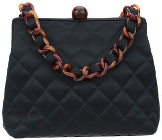 Chanel Black Quilted Satin 1996 Kisslock Bag