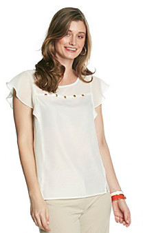 Amy Byer Flutter Blouse with Front Studs