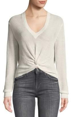 Veronica Beard Soren Twist-Front V-Neck Long-Sleeve Rib Sweater