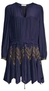 Ramy Brook Hanna Embellished Handkerchief Hem Dress