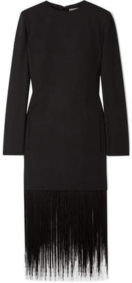 Givenchy Fringed Wool-crepe Dress - Black