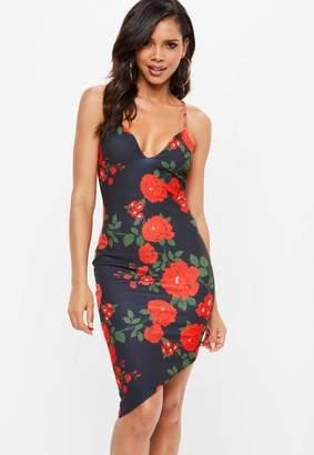 Missguided Black Strappy Floral V Neck Bodycon Dress