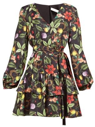 Borgo de Nor Olivia Tropical Print Tie Waist Silk Mini Dress - Womens - Black Multi