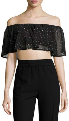 Lucca Couture Women's Off The Shoulder Ruffle Crop Top