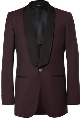 Dunhill Burgundy Slim-Fit Slub Wool Tuxedo Jacket $1,590 thestylecure.com