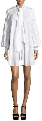 McQ Alexander McQueen Long-Sleeve Pinstriped Poplin Tunic/Dress, Ivory $555 thestylecure.com