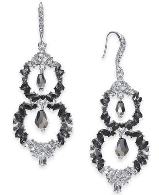 INC International Concepts I.N.C. Silver-Tone Black Ombré Crystal Double Drop Earrings, Created for Macy's