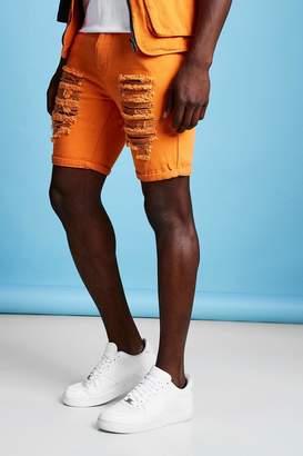 Slim Fit Distressed Denim Short