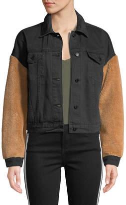 Velvet Heart Berry Faux-Shearling Sleeve Denim Jacket