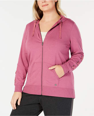 Macy's Ideology Plus Size Lace-Up Sleeve Zip Hoodie, Created for