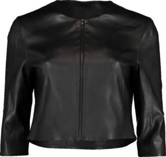 SUSAN BENDER Black Stretch Leather Cardigan