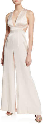 f8f34bc3f4d Jill Stuart Plunge-Neck Open-Back Wide-Leg Satin Jumpsuit