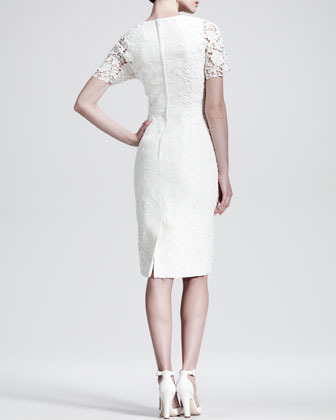 Dolce & Gabbana Brocade Lace-Sleeve Cocktail Dress