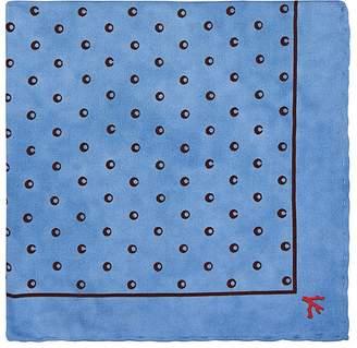 Isaia Men's Circle-Print Silk Pocket Square
