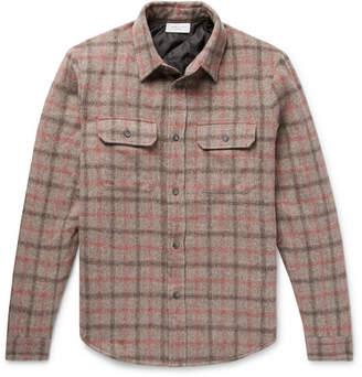 John Elliott Checked Brushed Wool-blend Padded Overshirt - Brown