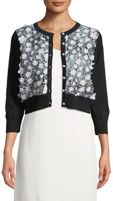 Karl Lagerfeld Paris Flower-Front Shrug Cardigan