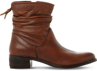 Dune Ladies Tan Pagers Ruched Leather Ankle Boots