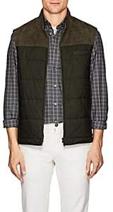Luciano Barbera Men's Suede-Trimmed Quilted Vest-Olive