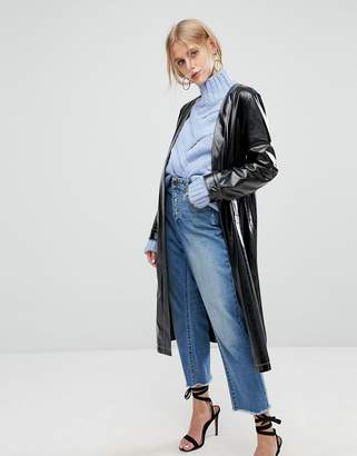 Current Air Vinyl Long Line Jacket With Belt