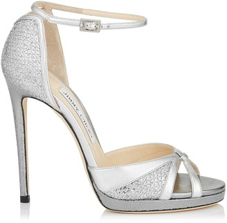 Jimmy Choo TALIA 120 Silver Glitter Fabric and Metallic Nappa Sandals