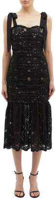 Rebecca Vallance 'Betty' tie shoulder ruched Chantilly lace mermaid dress