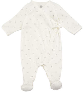 Petit Bateau Side-Snap Printed Footie Pajamas, Size 1-6 Months