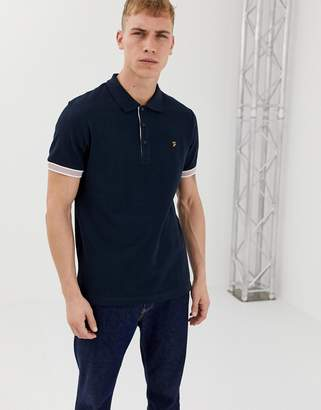 Farah Wade slim fit tipped cuff polo in navy