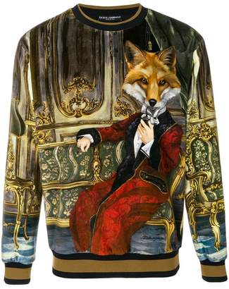 Dolce & Gabbana suited fox printed sweatshirt