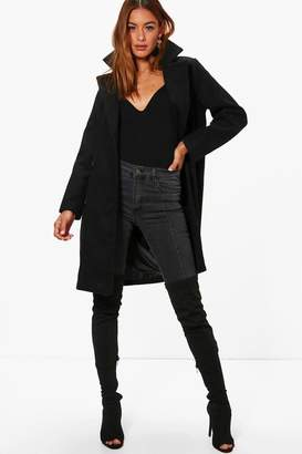 boohoo Fliss Double Breasted Wool Look Coat