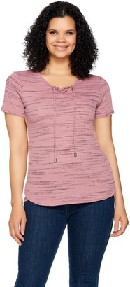 Lisa Rinna Collection Short Sleeve Lace Up Top