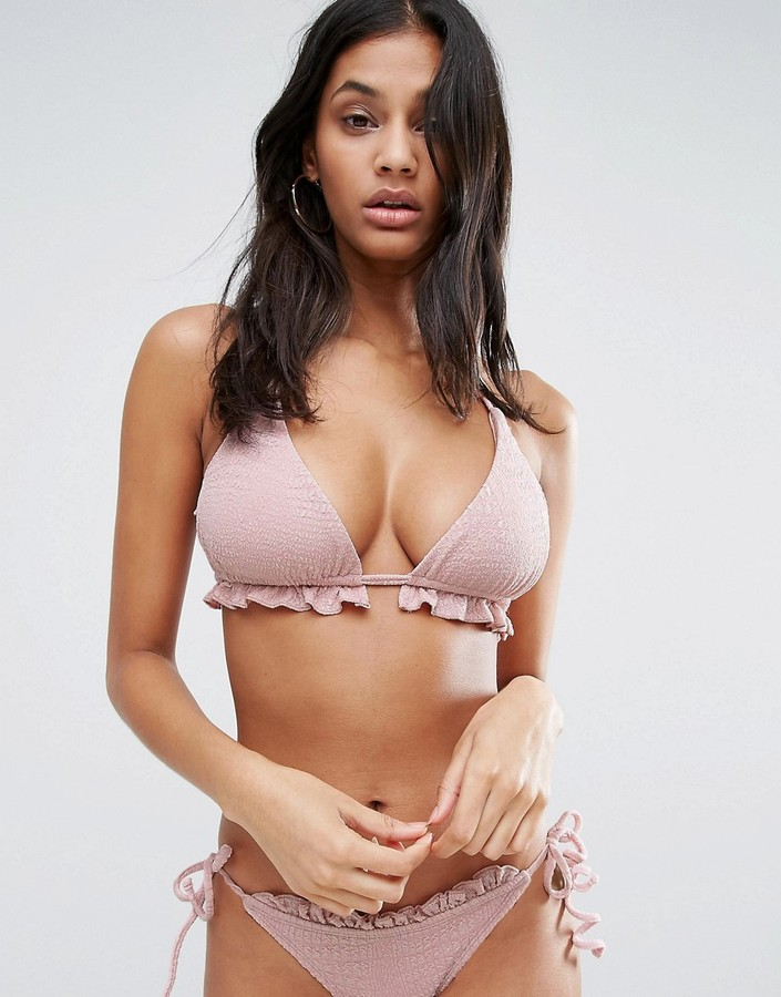 ASOS FULLER BUST Textured Frill Supportive Triangle Bikini Top DD-F