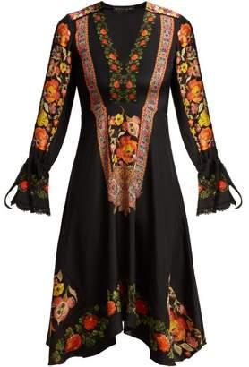Etro Shambala Embroidered Floral Print Silk Dress - Womens - Black Multi